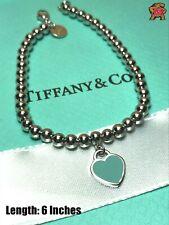 Return to Tiffany Sterling Silver Bead Bracelet Blue Enamel 6 Inch