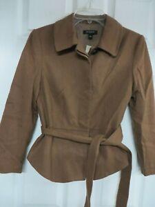 NWT Ann Taylor  Wool blend  Button-up Fit & flare Belt Brown Blazer 4