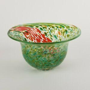 Vintage Kosta Boda Ulrica Splatter Bowl Orange Green Sweden Gorgeous 6in