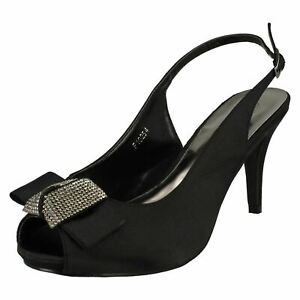Oferta Mujer Anne Michelle Punta Abierta Diamante Lazo Trasera Zapatos de Salón