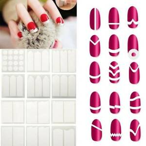 15 Sheets/lot French Manicure DIY Nails Art Tips Guides Stickers Stencil Strip