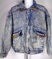 Vtg 90s Acid Wash Jean Jacket Size L Puffer Bomber Horizon Grunge Hip Hop