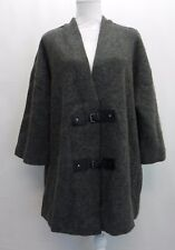 JM Collection 3/4 Sleeve Wool Buckle Front Cardigan Sweater Jacket Grey Gray M