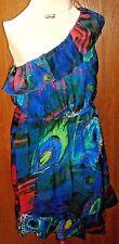 Charlotte Russe Women's Juniors L Large Blue Green Print One Shoulder Dress D488