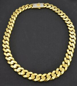 """10K Yellow REAL GOLD Miami Cuban Curb Chain Necklace 11mm 18'' 20"""" 22"""" 24"""""""