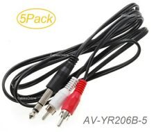 """5-Pack 6ft 1/4"""" TRS Stereo Male to 2-RCA (Left/Right) Male Audio Cable"""