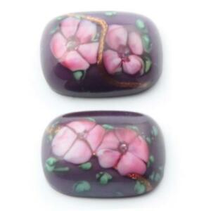 (2) 16x12mm Czech vintage pink floral aventurine lampwork purple glass cabochons