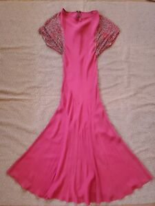 Vintage 1930s Art Deco Red Dress with Beaded Sleeves  As is