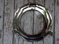 "11"" Porthole Glass ~ Chrome ~ Nautical Maritime Wall Decor ~ Ship Cabin Window"
