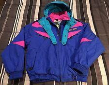 Vintage 80s 90s Hard Corps Colorblock Puff Hip Hop Neon Zip Ski Snow Jacket - L