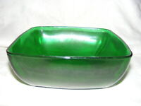 Vintage Anchor Hocking Forest Green Glass Charm Salad Bowl