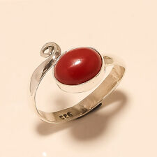 Natural Italian Red Coral Ring 925 Sterling Silver Thanks Giving Fine Jewelry AA