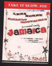 Take It Slow Joe 1957 Jamaica Lena Horne Sheet Music