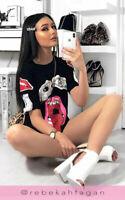 Women Black Lips Eye Casual Tops T-Shirt Designer Slogan Plunge Mini Dress Tee