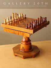 Wow! Mid Century Handgeschnitzt Holz Schach Dame Tisch! Teak Walnuss Satz 15.2mS