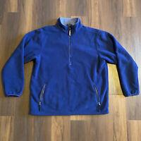 LL Bean Mens Fleece Pullover Jacket Sweater Size XLT XL-TALL Blue Warm Half Zip