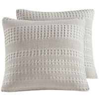 "PHF Cotton Waffle Weave Throw Pillow Cover 26""x 26"" Winter 2pcs White Khaki Grey"