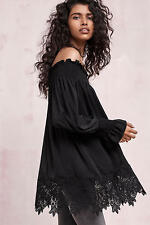 NWT L ANTHROPOLOGIE Sexy Vettora Off The Shoulder Tunic Top Lace Trim $118 Large