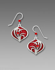 Adajio Brilliant RED Teardrop EARRINGS with Silver Overlay STERLING - Gift Boxed