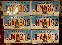 1 ALASKA LICENSE PLATE 'STANDING GRIZZLY BEAR' RANDOM NUMBER # CRAFT FLAW GRADE