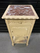 Plant Stand Antique 1 Door/1 Drawer 19th / Style Louis XVI Wood Painted, Marble