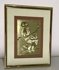 Vintage 1986 Gold Foil Art MANIFESTATIONS 2 Owls Optical Illusion Framed Matted