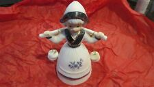 Vintage Bell Holland Dutch Girl Milkmaid Carrying Buckets Blue White