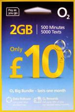 O2 UK prepay SIM card - £10 Big Bundle - 500 UK mins, 5000 UK SMS, 2GB rollable
