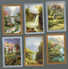 Playing Swap Cards 6 GENUINE  SCENES & COTTAGES  ART BY T KINKADE  SO PRETTY B14