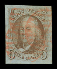 US 1847  Franklin  5c red brown, bluish paper  Scott #1 used  XF  red cancel