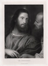 """Strong 1800s TITIAN Antique Religious Engraving """"The Tribute Money"""" Signed COA"""