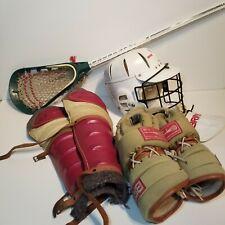 Vintage Brine Lacrosse Gear Gloves Helmet Shin/Knee Guards Stick  Fair Condition