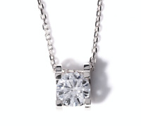 1 Ct Round Cut D/VVS1 Diamond Solitaire Necklace 14K White Gold Over Sterling