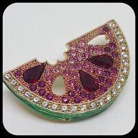 VINTAGE Janus Watermelon Brooch Pin Badge Crystal Sparkly Kitsch Kawaii