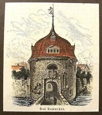 WOLFENBÜTTEL - Dammtor. Handkolorierter originaler Holzstich von 1881