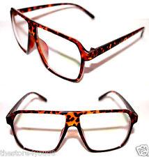 Super Retro Future Vintage Flat Top Nerd Clear Lens Glasses Tortoise Brown 435