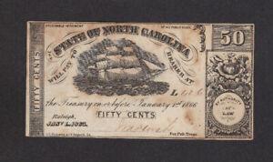50 CENTS VF BANKNOTE FROM UNITED STATES/NORTH CAROLINA 1866 RARE