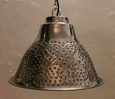 Landhaus Pendelleuchte Hängelampe Herz Metall rund silber einflammig Lampe Ø34cm