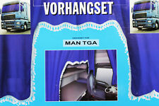 LKW Gardinenset blau weiß 5 Tlg MAN TGA Dekoration Innenausstattung