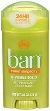 4 Pk Ban Invisible Solid Antiperspirant Deodorant Sweet Simplicity Scent 2.6oz