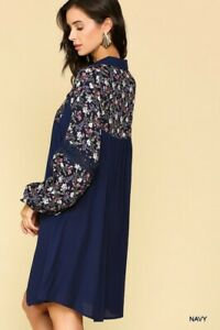 SML GIGIO by UMGEE NAVY Floral Print Long Sleeve Collared Dress/Tunic BHCS