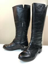 Women's Ugg Channing Black Leather Partial Zip Buckle Strap Tall Boots Size 6.5