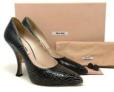 Authentic miu miu Pointed toe Pumps Heels ##37.5 US7.5 Leather Black Rank B