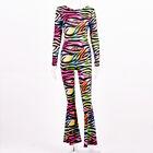 Women Long Sleeve Colorful Zebra Stripe Print Backless Bodycon Boot-cut Jumpsuit