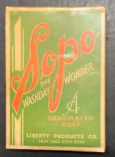Vintage 1920s Sopo The Washday Wonder Laundry Detergent Liberty Products Co. NOS