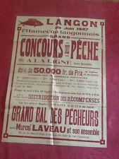 Affiche CONCOURS DE PECHE à la ligne L'HAMECON LANGONNAIS - LANGON Gironde 1947