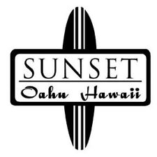Sunset Beach Oahu Hawaii Vintage Style Travel surf surfing Decal sticker