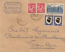 LETTRE BARGEMON VAR POUR TOULON 1951
