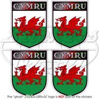 """CYMRU Wales UK Welsh 50mm (2"""") Bumper-Helmet Sticker x4"""