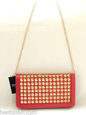 NEW-DS RED STINGRAY EMBOSSED LEATHERETTE+GOLD STUDS,CHAIN CLUTCH,PURSE,BAG+TAG